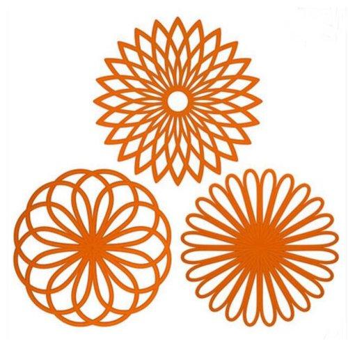 Beautiful Geometric Flower Pattern Insulation Mats Nonslip Durable Pot Holders