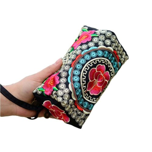 Ethnic Embroidery Bag Small Square Package Phone Package Handbag Clutch