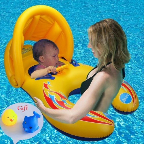 Zicosy Mother & Baby Swimming Float with Inflatable Sunshade Canopy, Swimming Ring, Swimming Pool Float Toy (Double Seat Boat with Safety Handheld...