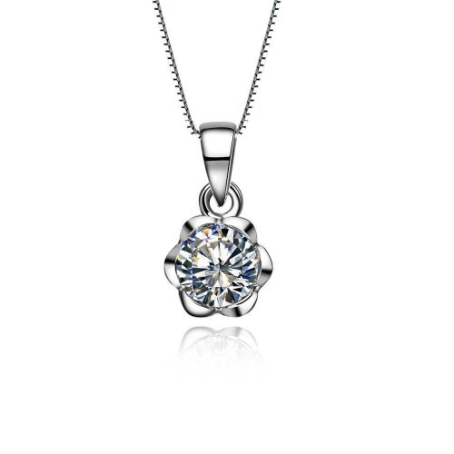 Sparkling 1 Carats Round Cut Diamond Necklace Pendant White Gold 14K