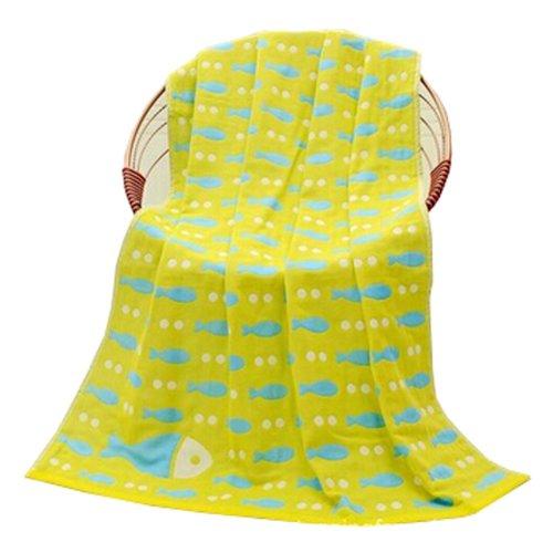 "Baby/Kids Cotton Bath Rug Breathable Bath Towel Summer Cover Blanket 27.55""x55.11""(Light Yellow)"