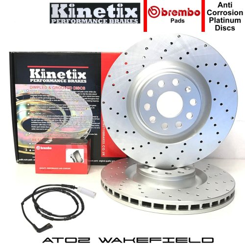 FOR BMW 3 SERIES 320d E90 E91 FRONT CROSS DRILLED BRAKE DISCS BREMBO PADS 300mm