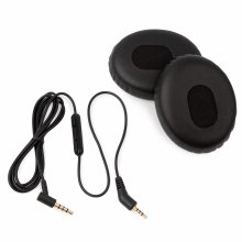 [REYTID] Bose QuietComfort 3 QC3 Replacement Audio Cable w/ Volume Control & Ear Cushion Kit - Black