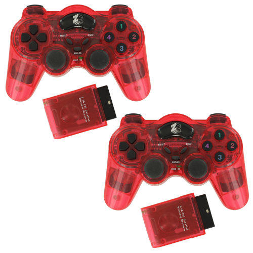 Wireless RF double shock vibration controller for PS2 - Red twin pack ZedLabz