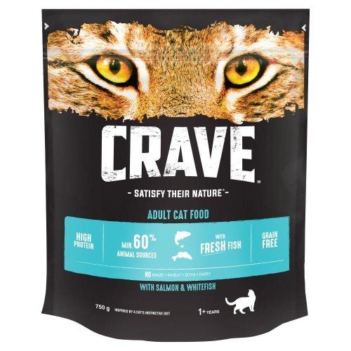 CRAVE Cat Dry with Salmon & Fresh Whitefish 3x750g