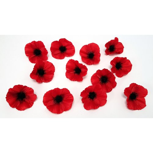 Set of 12 Artificial Red Poppy Flower Heads - 9cm - Remembrance