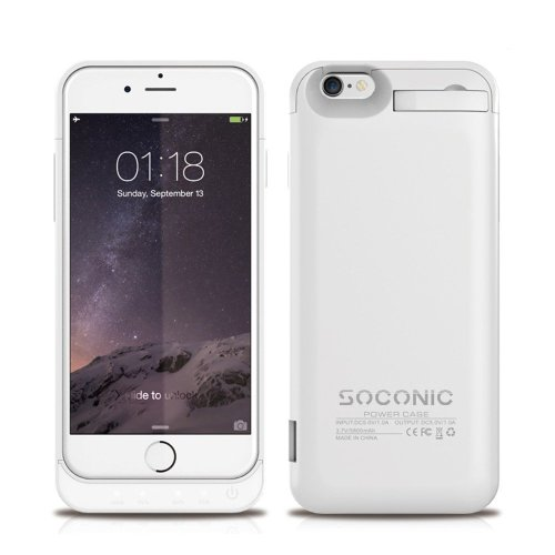 size 40 772f7 f7473 [With A Screen Protector] iPhone 6 6s Battery Case Soconic 5800mAh External  Backup Charging Case Battery Pack Power Bank Portable Charger Case For...