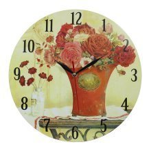 Obique Home Decoration Red Flowers in Red Vase 34 cm MDF Wall Clock