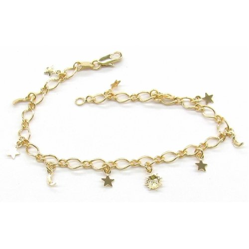 New 9 CT Gold Filled Open Curb Charm Bracelet B23