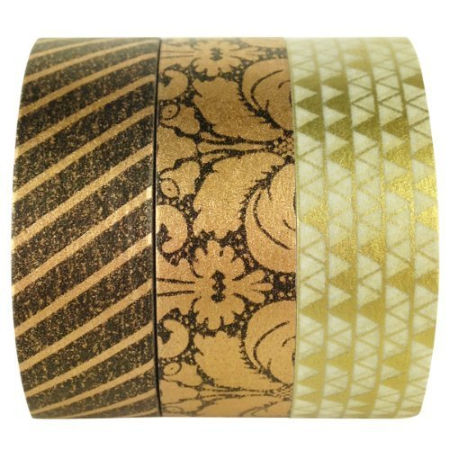 Wrapables Holiday Collection Japanese Washi Masking Tape Imperial Gold Set of 3