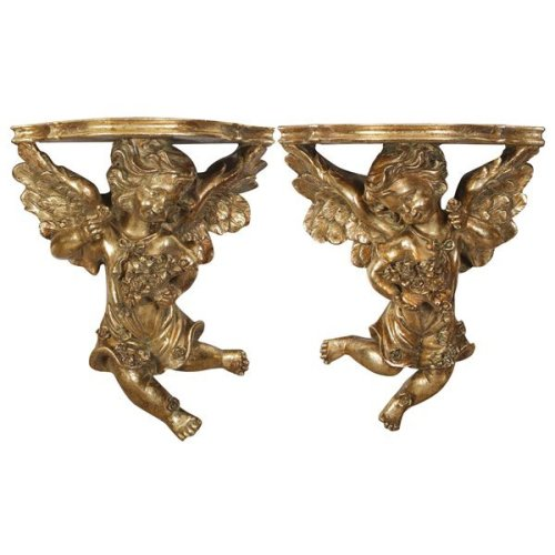 Resin Made Antiqued Gold Finish W27xdp13xh32 Cm Sized Each Shelves Pair