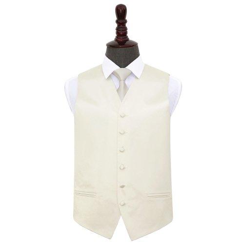Ivory Plain Satin Wedding Waistcoat & Tie Set 44'