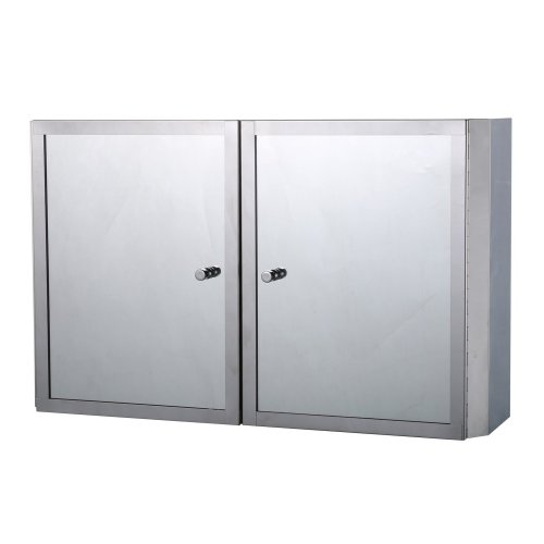 Homcom Stainless Steel Mirror Cabinet Bathroom Cupboard Shelves Double Door (50lx31hx13d(cm))