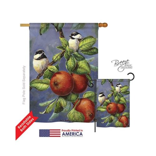 Breeze Decor 05034 Birds Chickadees & Apples 2-Sided Vertical Impression House Flag - 28 x 40 in.