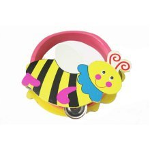 Cute Bee Mini Tambourine Wood Hand Drum for Kids