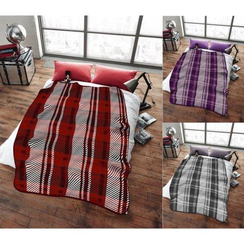 Stanley Check Super Soft Cudly Blanket Sofa Tartan Throw Large 150 x 200cm