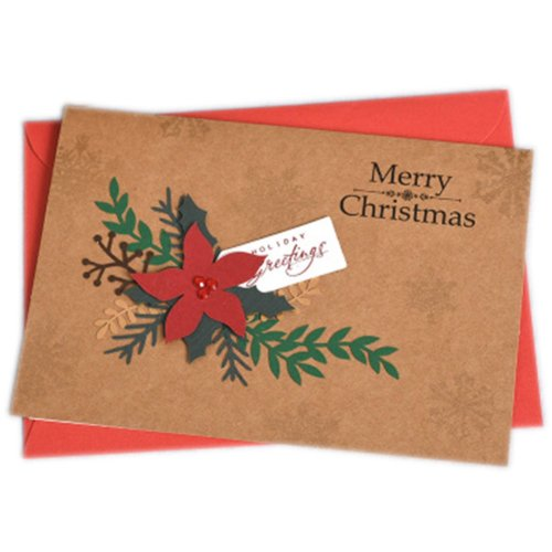 Christmas Cards Greeting Cards Christmas Gift Beauitful Xmas Cards (4 Cards and Envelopes), Brown #1