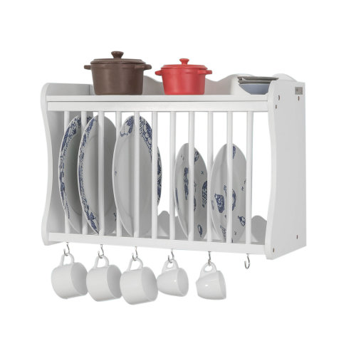 SoBuy® FRG275-W, Wall Mounted Kitchen Plate Cup Rack Kitchen Wall Shelf