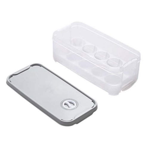 Set of 2 Egg Holder Egg Container With Lid 10 Grid Each Eggs Box Plastic,B