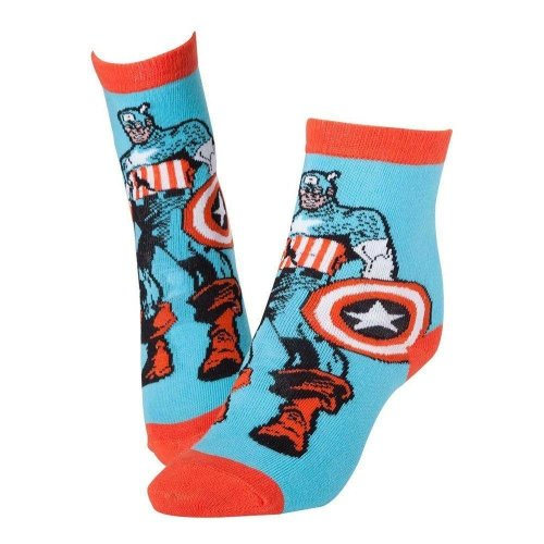 MARVEL COMICS Captain America Super Soldier Shield Crew Socks 39/42 - Blue/Red