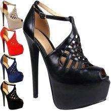 Ladies High Heels Platform Peep Toe Ankle Shoes