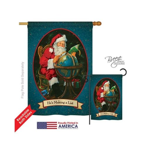 Breeze Decor 14001 Christmas Hes Making a List 2-Sided Vertical Impression House Flag - 28 x 40 in.