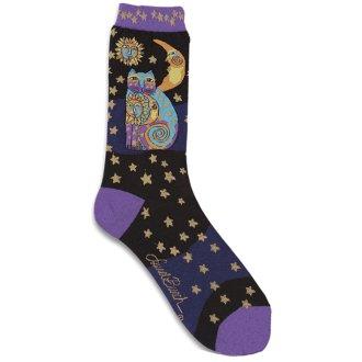 Laurel Burch Socks-Celestial Cat - Black