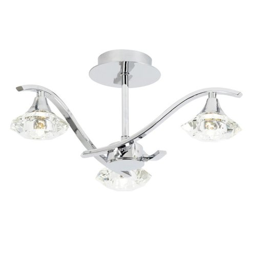 Modern Chrome Semi Flush 3 Light With Cut Clear Glass