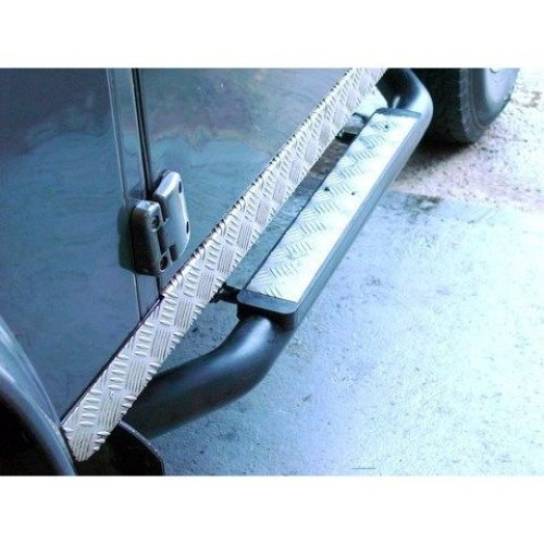 "Defender 90 Xs 3"" Tube Side Steps - Silver Chequer Plate"