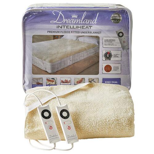 Dreamland Intelliheat Fast Heat Premium Soft Fleece Electric Underblanket, Natural, King Size 160 x 150 cm, 2 Controls