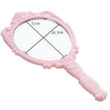One Retro Portable Mirror Vanity Mirror Little Handheld Makeup Mirror 10.5x25.5CM (Pink Rose)