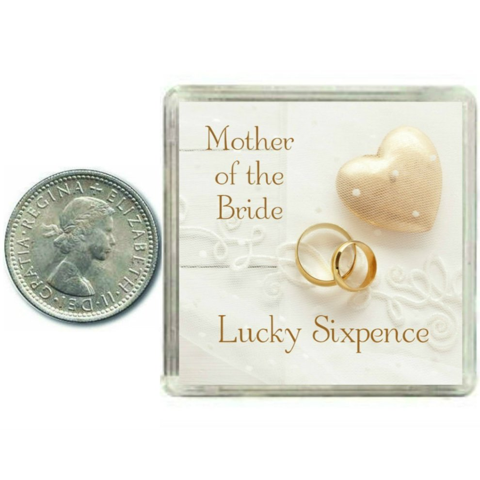 Lucky Wedding Sixpence Coin for Mother of The Bride & Traditional Thank You  Gift idea  Fun Wedding Day Favour Keepsake Gift for your Mother or