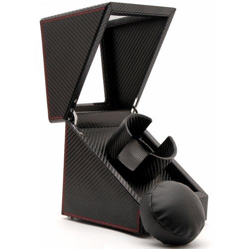 Pateker® Single Watch Winder, Black Leather Display Box Case [100% Handmade]