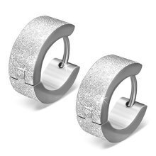 Urban Male Sandblasted Stainless Steel Hoop Earrings