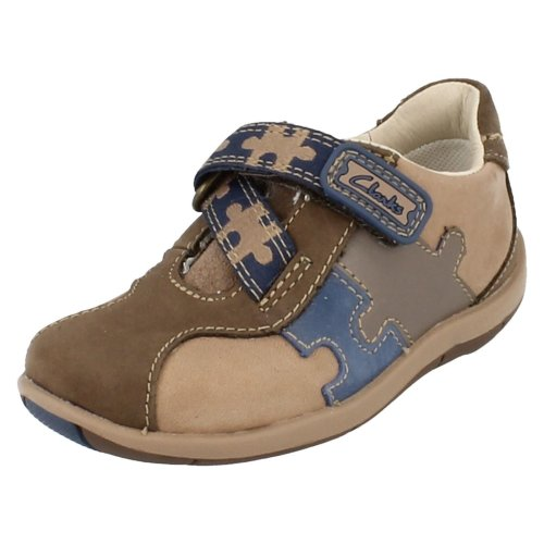 Boys Clarks First Shoes Plane Puzzle - Brown Combi Leather - UK Size 3.5E - EU Size 19 - US Size 4N