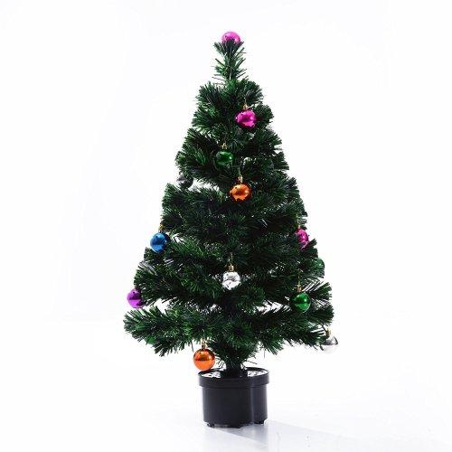 Homcom Fibre Optic Artificial Christmas Tree Green Pvc Rotating Stand (3ft / 90cm)