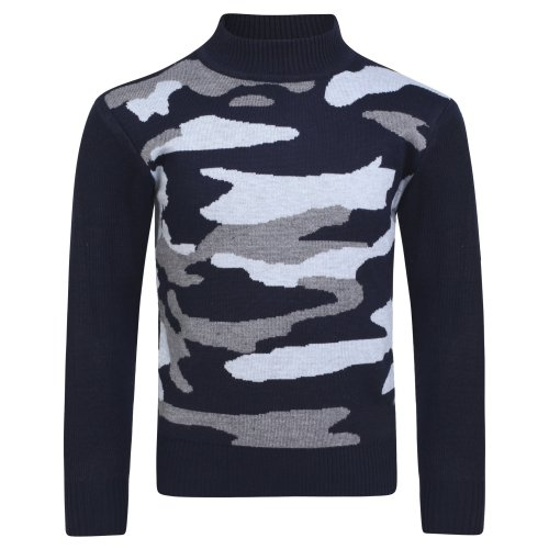 Boys Camo Knitted Pullover Jumper 1790