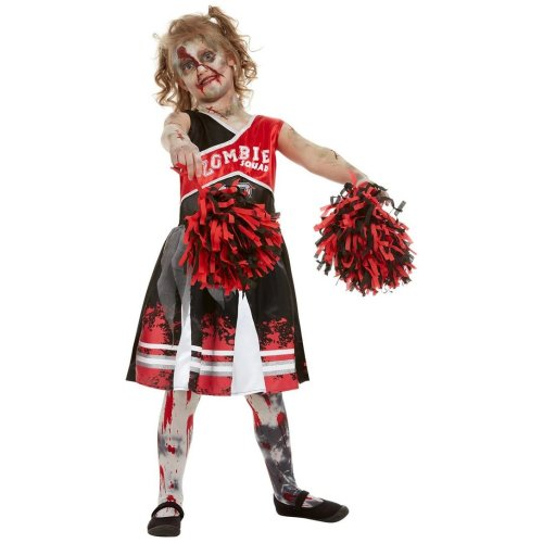 Girls Halloween Zombie Cheerleader Fancy Dress Costume Age 10,12