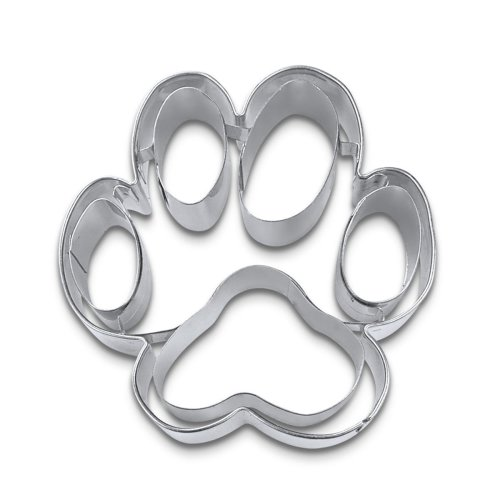 Staedter Embossing Dog Paw Cookie Cutter, Silver