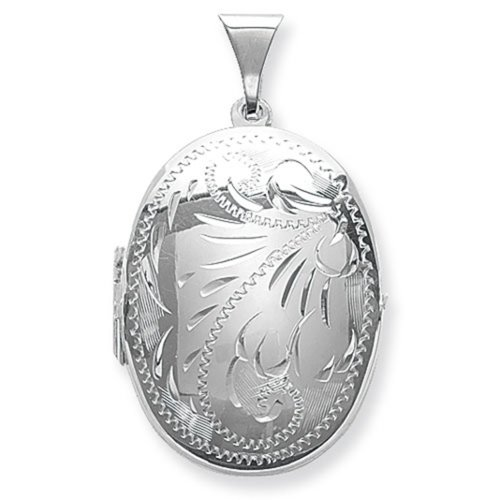 Childrens Sterling Silver Small Full Engraved Oval Locket On A Curb Necklace