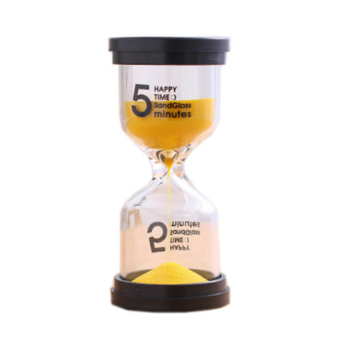 Colorful Sand Timer Hourglass Sandglass Small Ornaments Dropping Ueasily, 5 minutes +Yellow