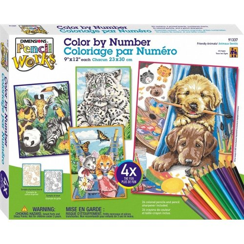 Dpw91337 - Paintsworks Pencil by Numbers - Friendly Animals Pack