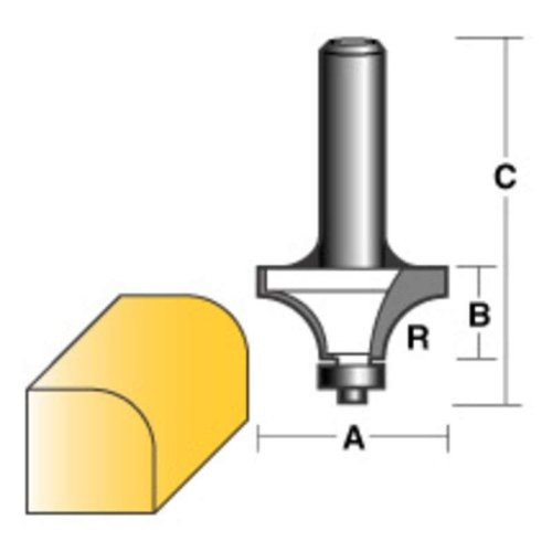 "CARBITOOL ROUND OVER ROUTER BIT 3/8"" W/BEARING 1/2"" SHANK"