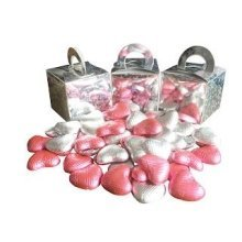 Pack of 3 Pink and White Chocolate Heart Filled Holographic Star Silver Cube Balloon Weight Favour Boxes