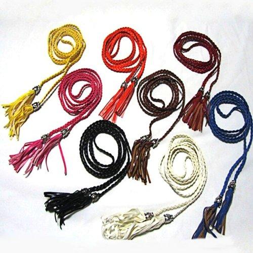 Women\'S Braided Belt Tassel Girls Belts Faux Leather Braided Belts Classic Wild Waistband Thin Belt