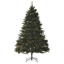 HOMCOM 2.1m 7ft Pre-Lit Christmas Tree Artificial Spruce Xmas Tree 700 Warm White  LED Holiday Décor Metal Stand