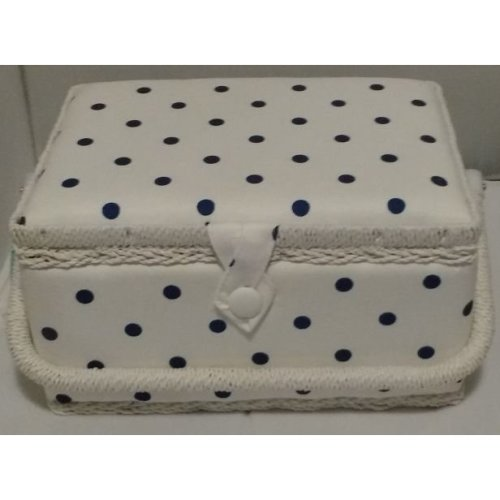 HobbyGift Medium Sewing basket - White with Navy Spot - 26.5 x 19.5 x 14cm