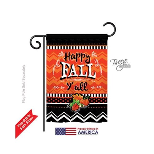 Breeze Decor 63055 Thanksgiving Happy Fall 2-Sided Impression Garden Flag - 13 x 18.5 in.