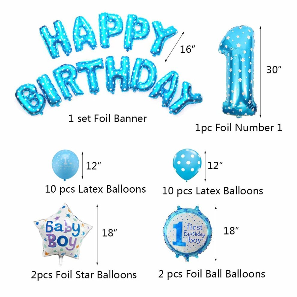 Weimi 1st Birthday Decorations For Boy Inflate Helium Foil Balloons Decoration Set