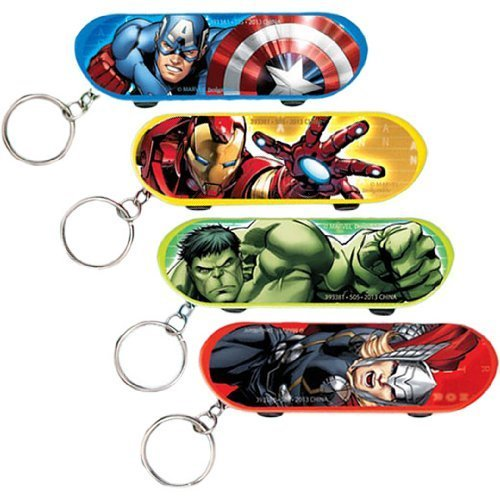"Avengers Birthday Party Fingerboard Keychain Favour, Multi , 3 1/8"" X 1"", Plastic"